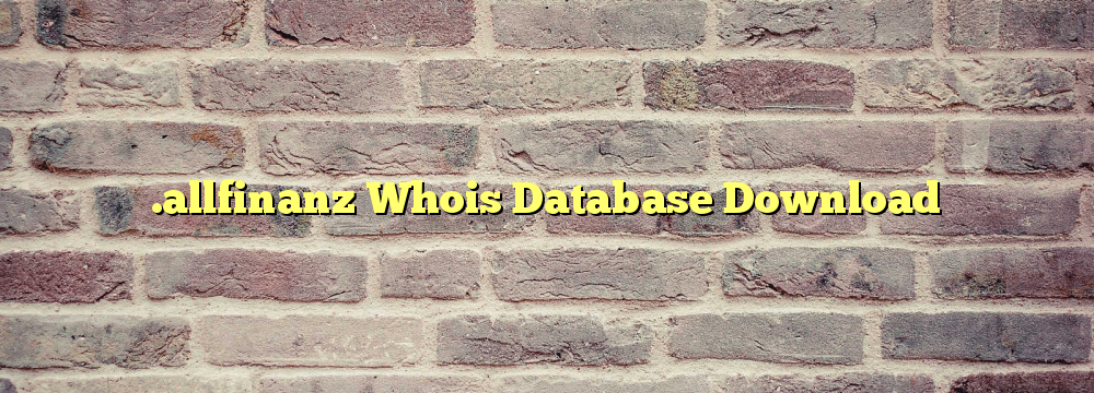 .allfinanz Whois Database Download
